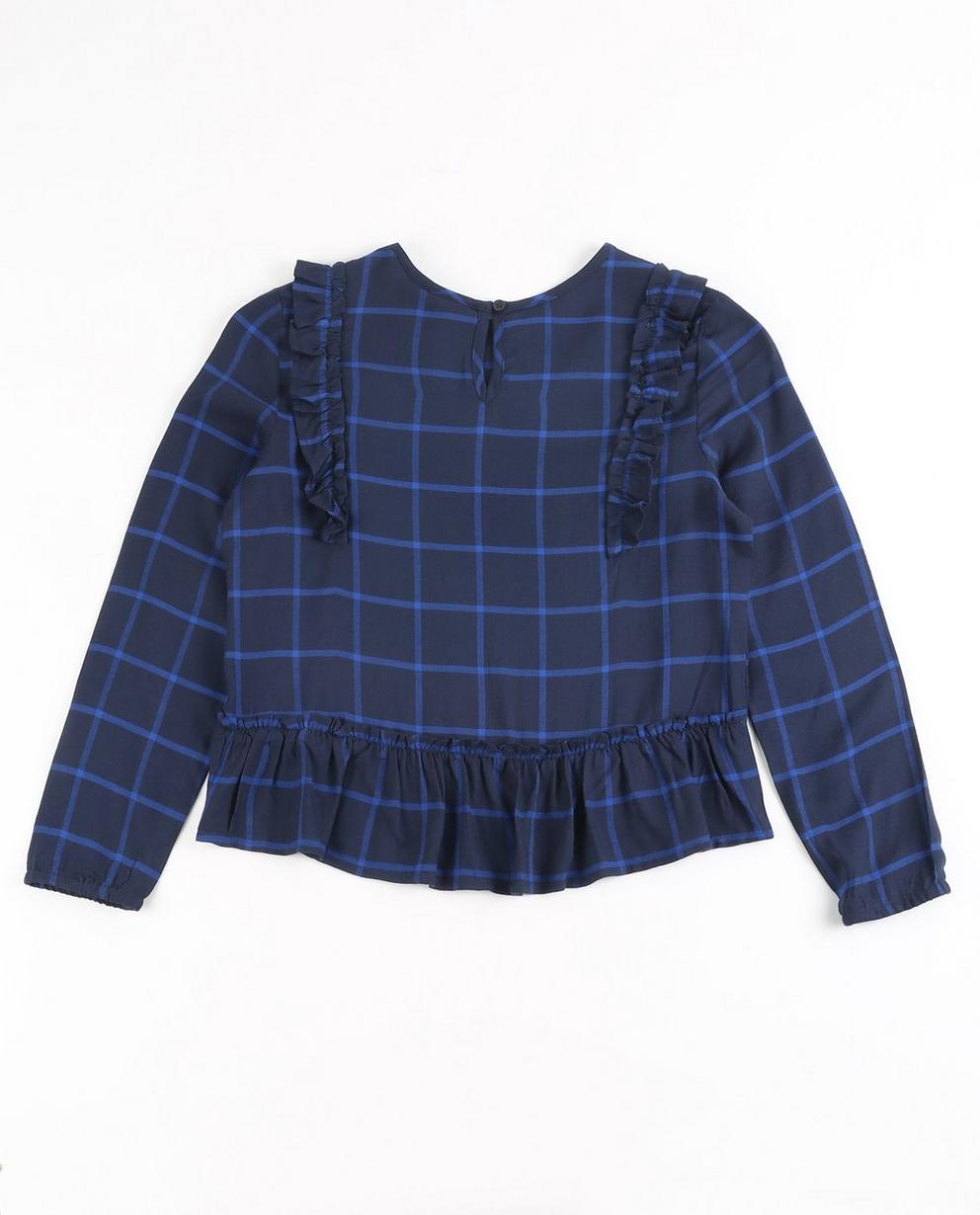 Hemden - Navy - Geruite blouse met ruches